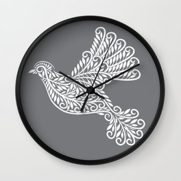 Peace, Dove, Gray and White Wall Clock