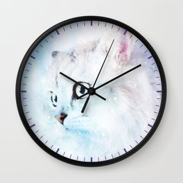 Fluffy starry cat Wall Clock