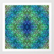 Lila's Flowers Repeat Blue Art Print