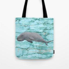 Cute Dugong Swimming Underwater  Tote Bag