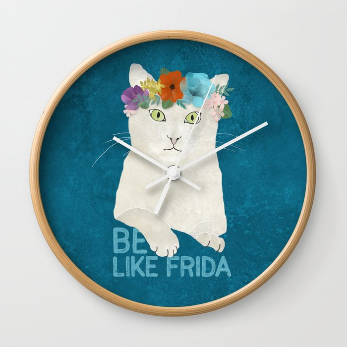 Be like Frida! White cat in flower crown on blue Wall Clock