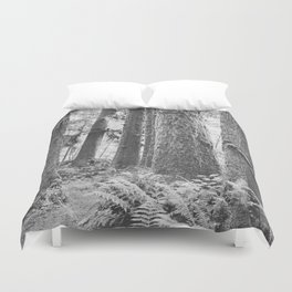 Forest Trail in Black and White Duvet Cover