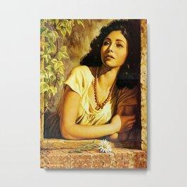 Mexican Calendar Girl at Window by Jesus Helguera Metal Print