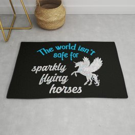 The world isn't safe for sparkly flying horses Rug