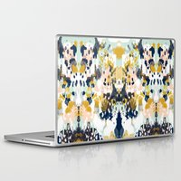 concert Laptop & iPad Skins featuring Sloane - Abstract painting in modern fresh colors navy, mint, blush, cream, white, and gold by CharlotteWinter