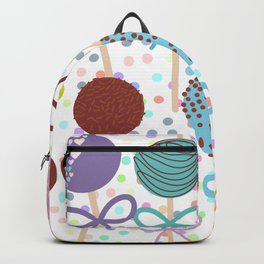 seamless pattern Colorful Sweet Cake pops set with bow on white polka dot background Backpack