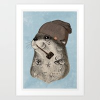 otter Art Prints featuring OTTER by Thiago Bianchini