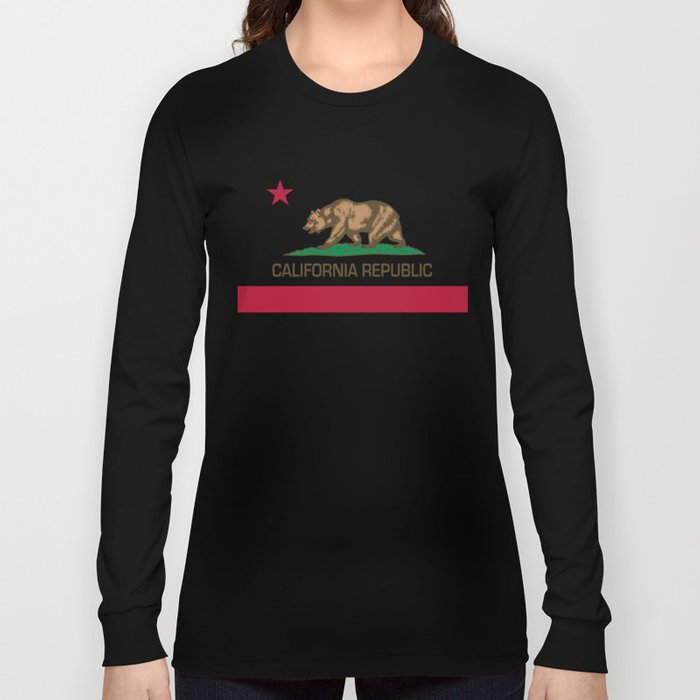 California Republic Flag Long Sleeve T-shirt by Bruce Stanfield - Black - MEDIUM - Long Sleeve T-shirt