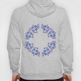 Round floral blue Hoody
