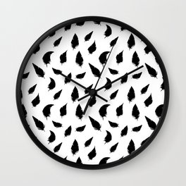 Feather pattern black Wall Clock