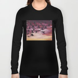 red-winged blackbird flock in flight Long Sleeve T-shirt