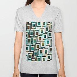 Black and White Squares Pattern 03 Unisex V-Neck