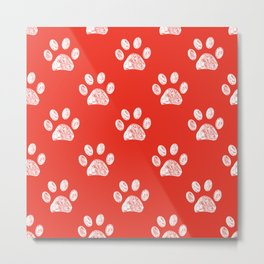Doodle white paw print seamless fabric design repeated pattern with red background Metal Print