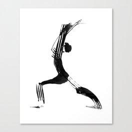Moder black and white, minimalist ink figure yoga drawing, yoga illustration, yoga pose, yoga art Canvas Print