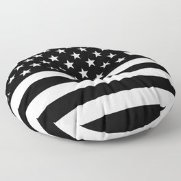 Black And White Stars And Stripes Floor Pillow