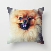 pomeranian Throw Pillows featuring POMERANIAN PHOTOGRAPH by Allyson Johnson
