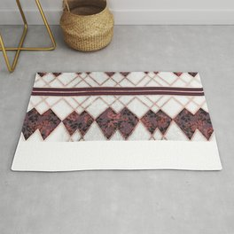 Modern Elegant Rose Gold Triangles and Maroon Roses Rug