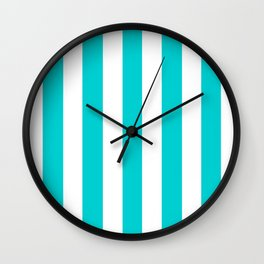 Dark turquoise - solid color - white vertical lines pattern Wall Clock