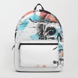 Survival astronaut sitting on underwater skull poster design  Backpack
