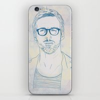 ryan gosling iPhone & iPod Skins featuring RYAN by Itxaso Beistegui Illustrations