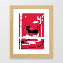 Black cat in the white woods Framed Art Print