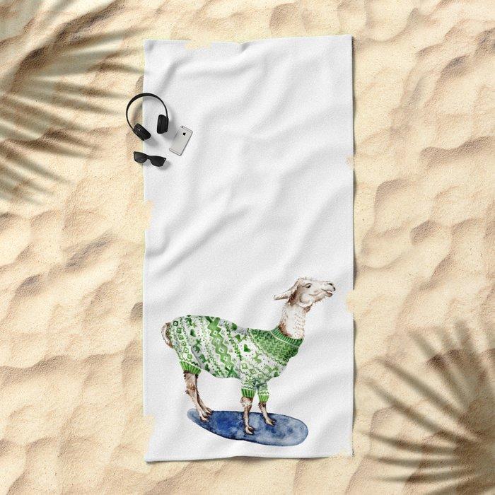 Llama in a Green Deer Sweater Beach Towel