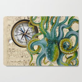 Octopus Compass Green Music Collage Cutting Board