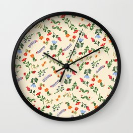 Bright Vintage Flower Pattern Wall Clock