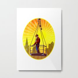 Construction Worker Platform Retro Metal Print