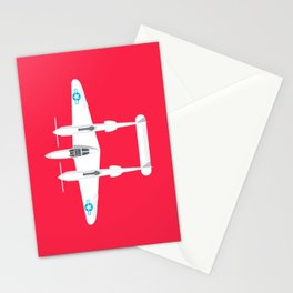 P-38 Lightning WWII Fighter Aircraft - Crimson Stationery Cards
