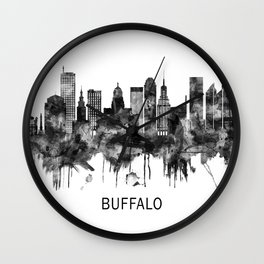 Buffalo New York Skyline BW Wall Clock
