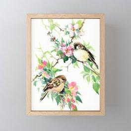 Sparrows and Apple Blossom, spring floral bird art Framed Mini Art Print