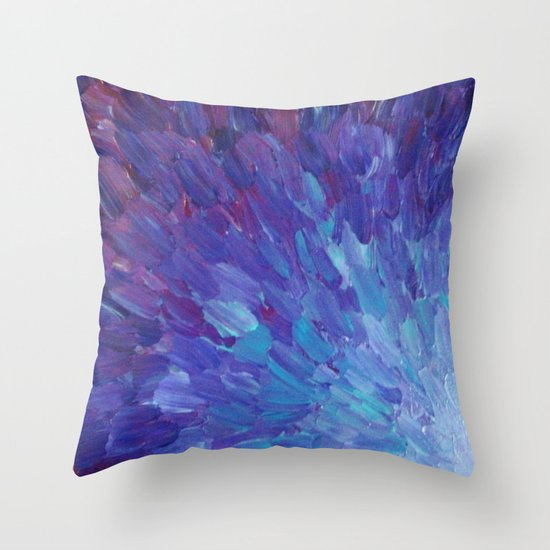 SCALES OF A DIFFERENT COLOR - Abstract Acrylic Painting Eggplant Sea Scales Ocean Waves Colorful Throw Pillow