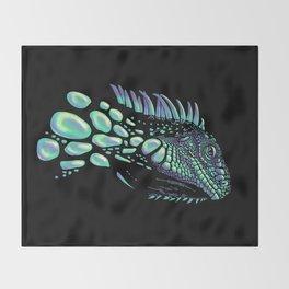 Iguana black Throw Blanket