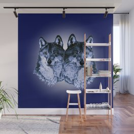 Season of the Wolf - Duet in Sapphire Wall Mural