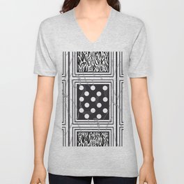 Exaggerated Dots and Circle, Dots, Square, Leopard and Skin Detailed Black and White Pattern Unisex V-Neck