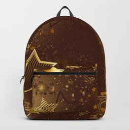 Brown background with golden stars Backpack