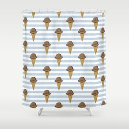 ice cream cones stripes food fight apparel and gifts Shower Curtain