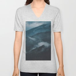Layers of Mountain Valley Forest Fog Clouds Modern Landscape Unisex V-Neck