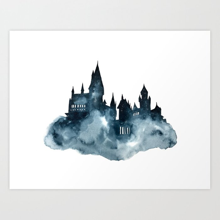 Hogwart Castle Watercolor Art Print By Ahmadillustrations