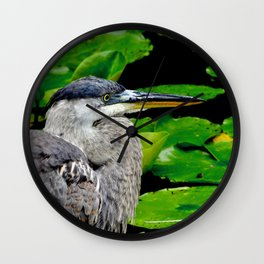 Blue Heron at the pond Wall Clock