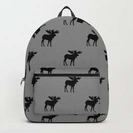 Bull Moose Silhouette - Black on Gray Backpack