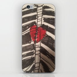 Rib cage with heart hoodie and t-shirt part of my  Goth collection iPhone Skin