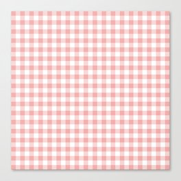Lush Blush Pink and White Gingham Check Canvas Print