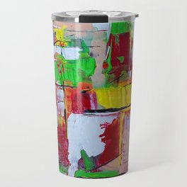 Boxed In - Green Red and Yellow Abstract Painting Travel Mug