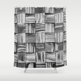 Vintage Wood Block // Black and White Wooden Texture Wall Background Accent Decoration Shower Curtain