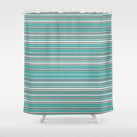 striped Shower Curtains featuring Striped by Marika's Artworks