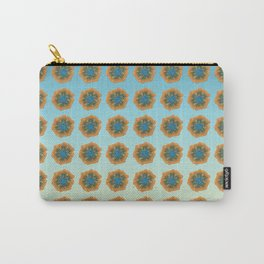 Orange flower on blue repeat Carry-All Pouch