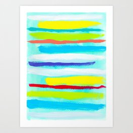 Ocean Blue Summer blue abstract painting stripes pattern beach tropical holiday california hawaii Art Print