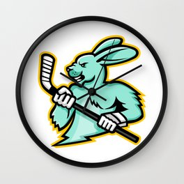 Jackrabbit Ice Hockey Player Mascot Wall Clock